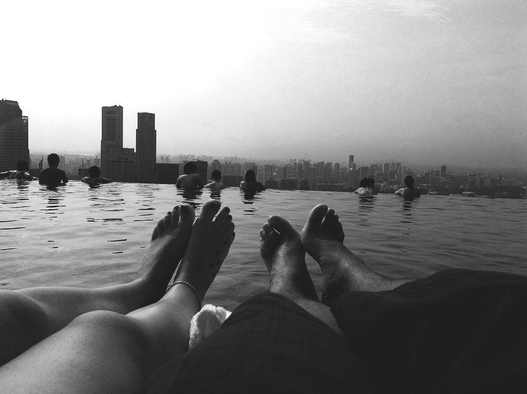 finding-love-on-the-road-swimming-pool-feet-bw